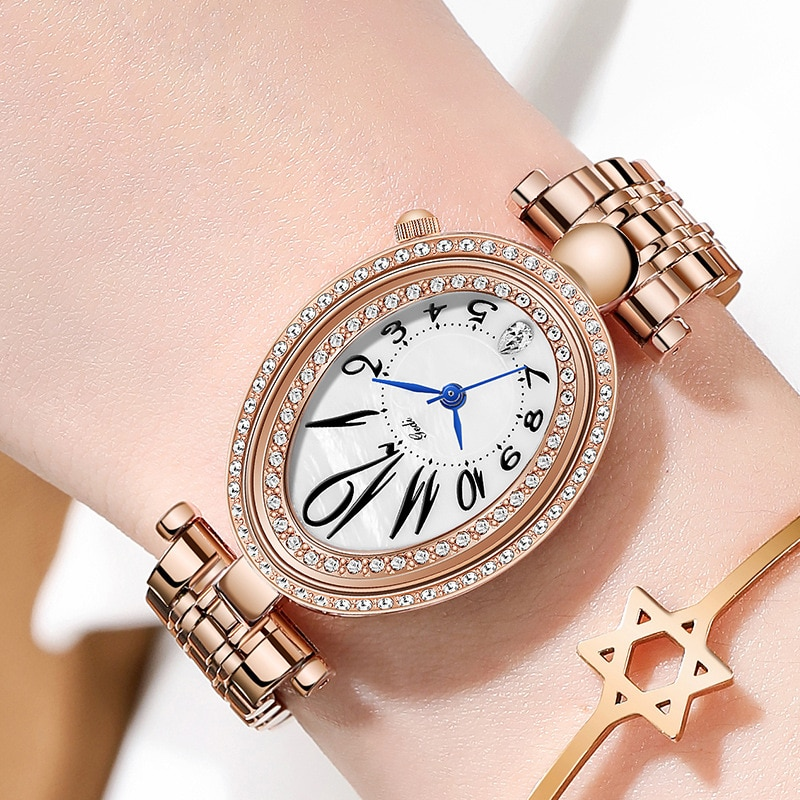 Fashion Luxury Rose Gold Watches Women Oval Unique Casual Dress Watch for Lady Elegant Stainless Steel Quartz Female Clock