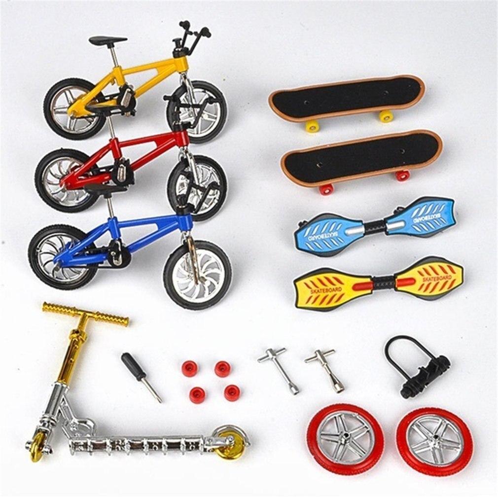 Мини-скейтборд для пальцев фингерборд BMX велосипед набор забавные скейтборды мини-велосипеды игрушки для детей мальчиков детские подарки Д...