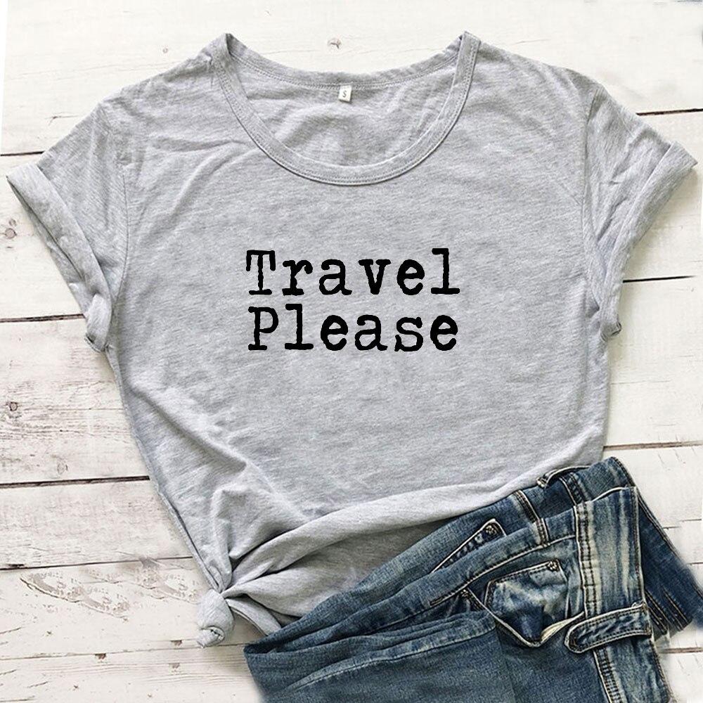Camiseta divertida de viaje para Mujer, Camiseta de manga corta de algodón, Camiseta Casual negra para Mujer, Camiseta Harajuku para Mujer