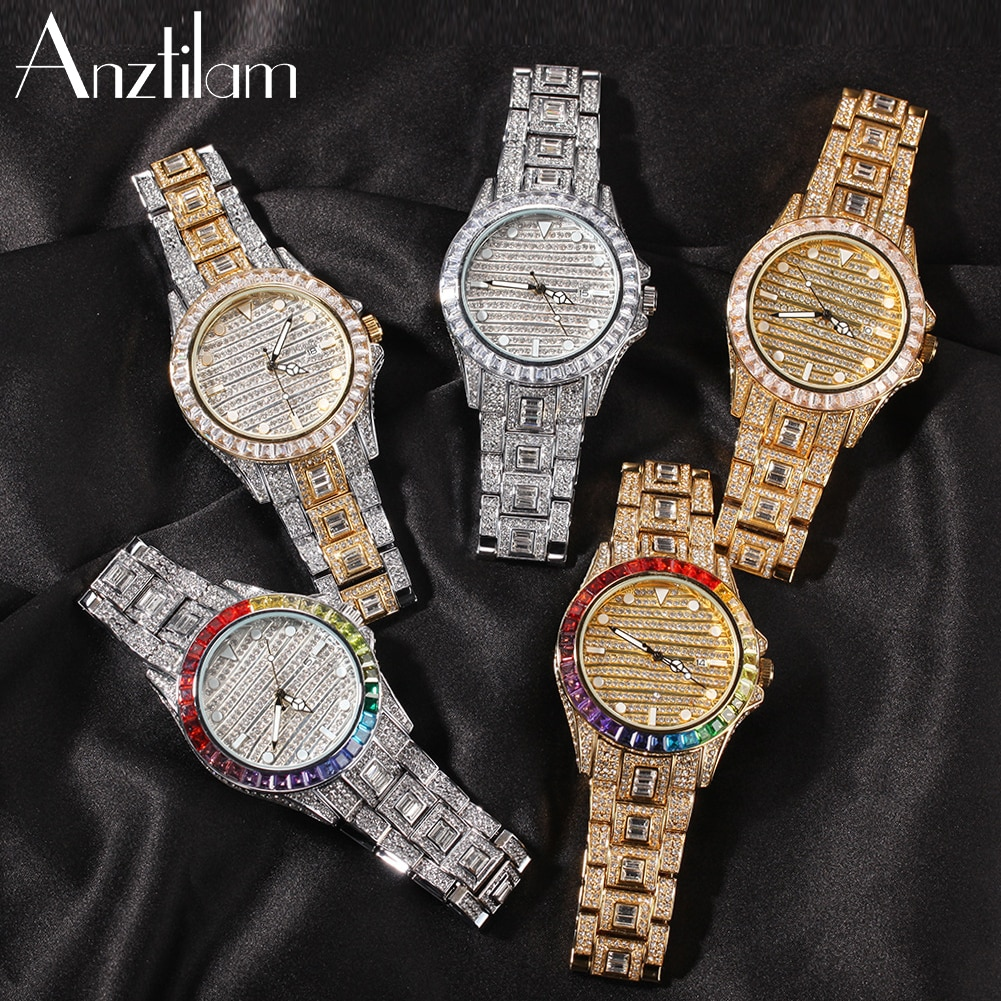Bling Rainbow Diamond Rhinestone Gold Color Hip Hop Watch For Men Women 316L Stainless Steel Quartz Wristwatch Gifts