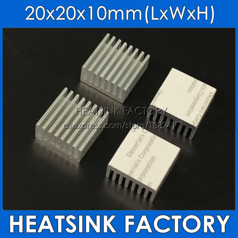 Dissipadores de calor refrigerando do dissipador de calor do ic do alumínio anodizado preto de 8 pces 20x20x10mm e entalhado com fita térmica