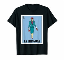 Camiseta negra Loteria Chingona La Dama parodia de algodón ajustada de talla grande