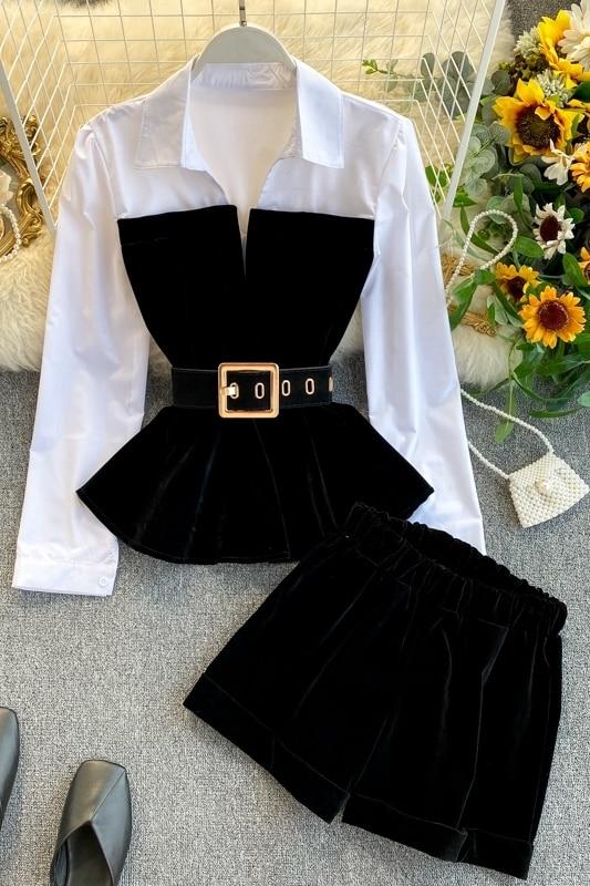 2021 Spring Autumn Long Sleeve Velvet Tops with Belt Elastic Shorts Two Piece Set Women enlarge