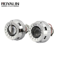 ROYALIN voiture style 1.8 2.0 HID Bi xénon phare projecteur lentille métal Mini Gatling pistolet linceul moto H1 H7 H4 rénovation