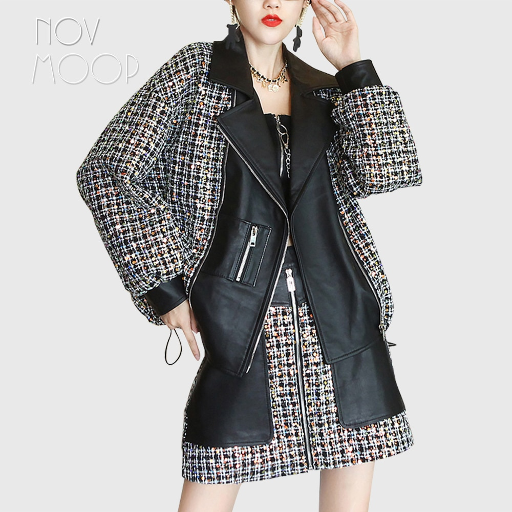 Novmoop-معطف نسائي من جلد الغنم ، معطف كبير الحجم مزين بالخرز ، تويد ، LT3303
