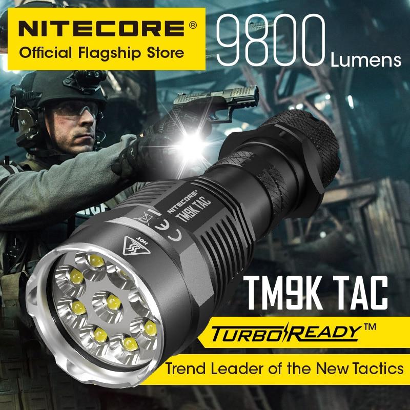 2021 NITECORE TM9K TAC 9800 Lumens Tactical Flashlight  USB Rechargeable Powerful LED Searchlight Super Bright, 5000mAh Battery