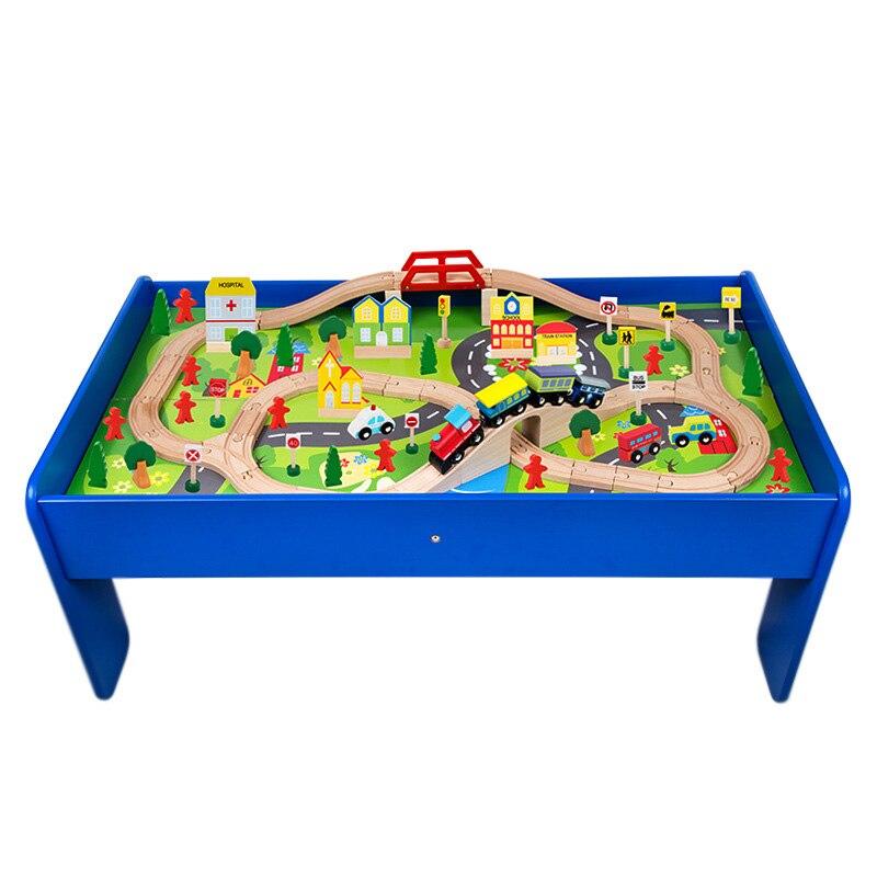 Juego de mesa de Montaña Rusa de juguete de madera para niños de 90 Uds., tren pequeño, juego de rompecabezas interactivo, regalo para niños y bebés, parque infantil grande