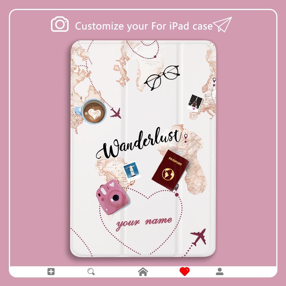 Custom Name Creative World Travel Case For iPad Mini 1 2 3 4 5 7th Clear Luxury Cover for iPad Mini 5 11 12.9 inch Cases Cute