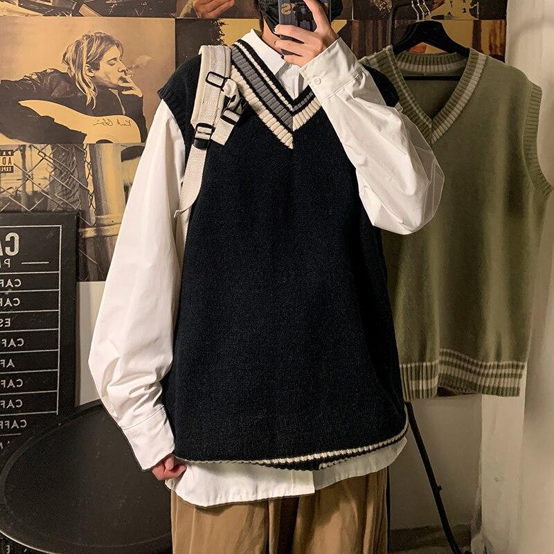 Sweater Vest Men's Fashion Retro Casual V-neck Sweater Vest Men Streetwear Korean Loose Vest Sweater Pullover Mens Clothes M-2XL