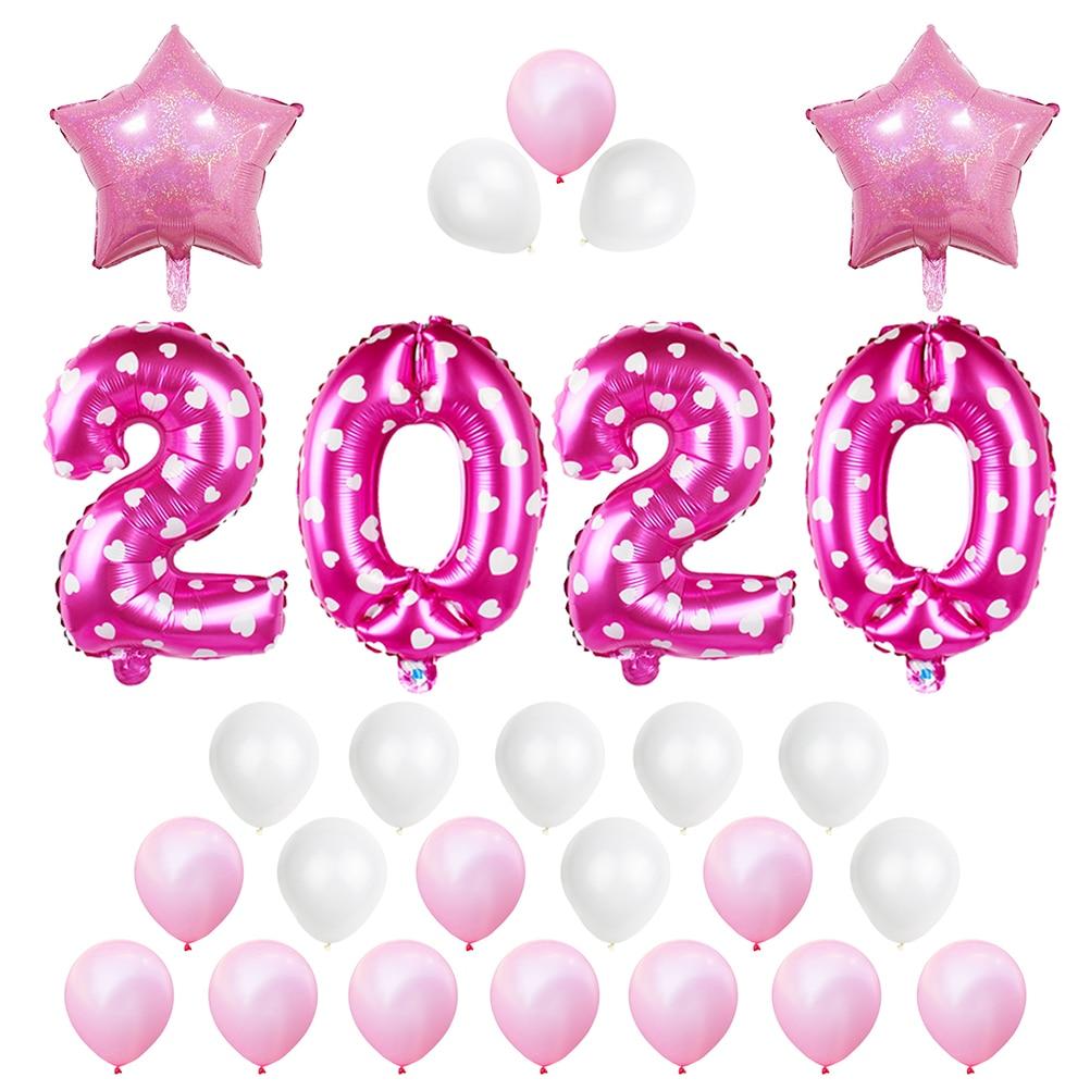27 piezas 16 pulgadas 2020 papel de aluminio decoraciones de graduación globos para eventos año nuevo suministros de fiesta rosa
