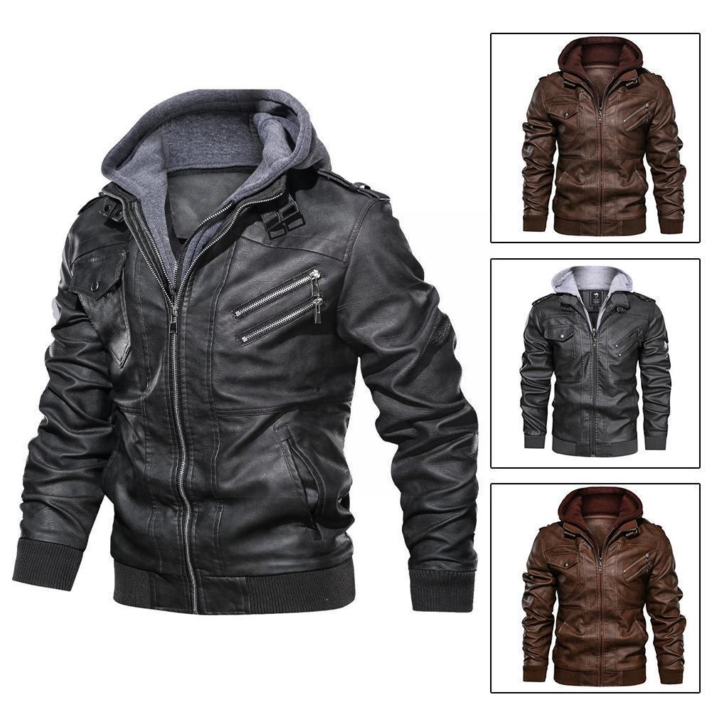 Кожаные куртки, мужские куртки, приталенные Куртки из искусственной кожи на молнии, черные деловые осенние куртки, куртки, мужские кожаные к...