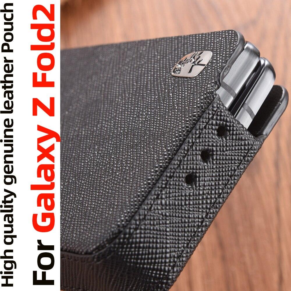 الحقيبة ل غالاكسي Z Fold2 5G حالة فليب غطاء جلد طبيعي حالة ل غالاكسي Z أضعاف 2 5G حالة الحقيبة حقيبة يغطي كوكه Fundas