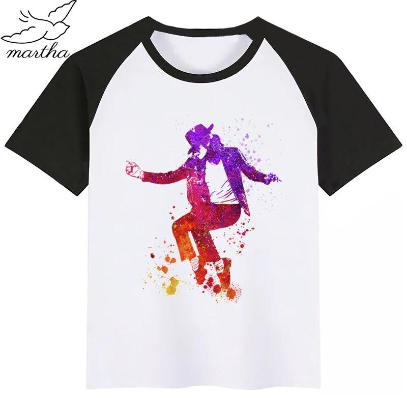 Michael Jackson Mj The King of The Pop Baby Boy Girl Tshirt Kids Boys Top Child Print Tee Funny T-shirts Summer Short Sleeve