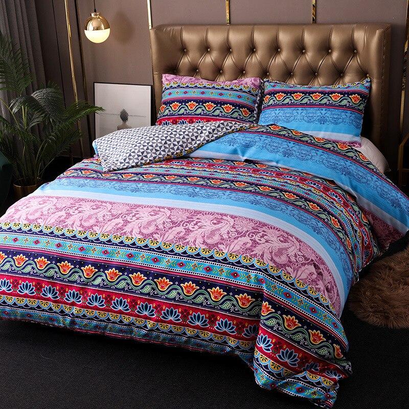 Juego de ropa de cama de rayas bohemias Vintage Hipster azteca Pastoral estilo campestre bohemio reina rey juego de funda de edredón 100% de microfibra