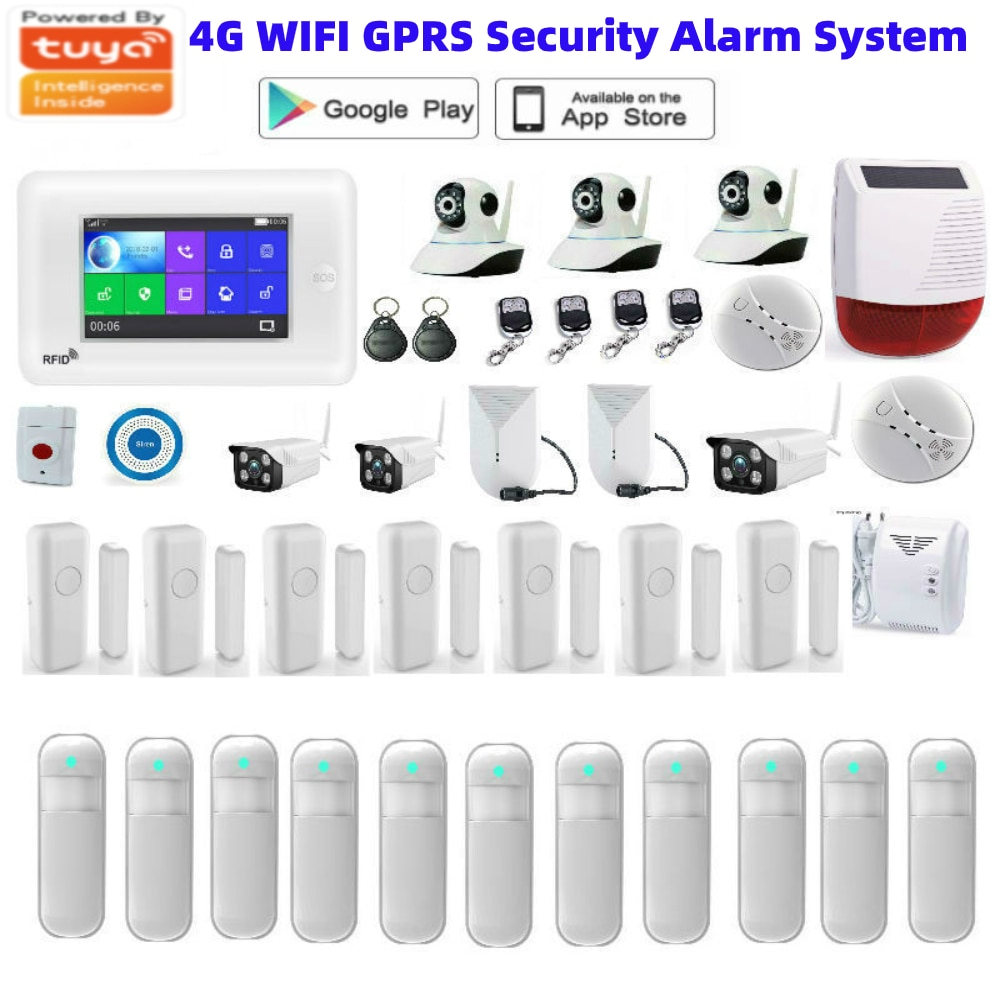 Tuya APP Control 4.3 Inch Touch Screen WIFI 4G 3G Network Wireless Home Burglar Security Alarm System Video IP Camera 4G SIM enlarge