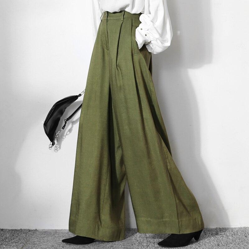 LANMREM primavera 2020 nueva moda temperamento verde aguacate algodón y lino vintage casual suelta pantalones de pierna ancha streetwear YJ382