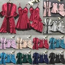 4 Pieces 2021 Women Pajamas Sets Satin Sleepwear Silk Nightwear Pyjama Soild Strap Lace Sleep Lounge