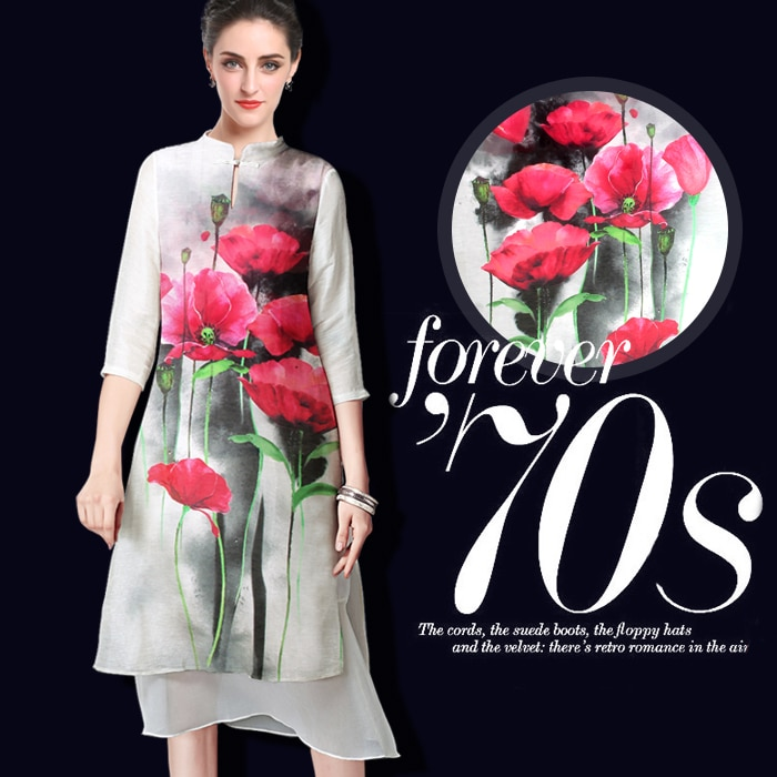 Amapola roja tela de lino de seda material del vestido tela de impresión de la flor de la camisa