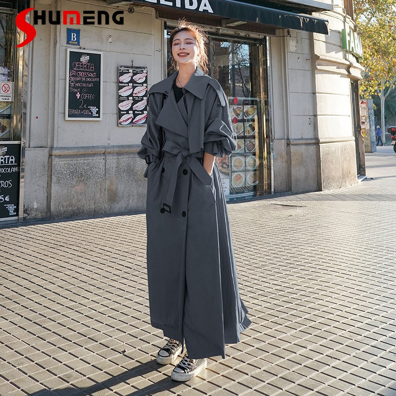 2021 ربيع الخريف الإناث سوبر طويل الكاحل خندق معطف المرأة موضة فضفاضة الكورية نمط طالب تحت الركبة سترة واقية