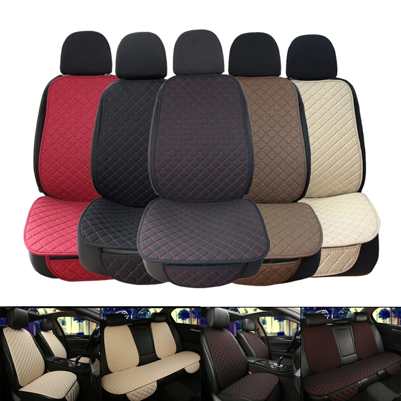 Large Size Flax Car Seat Cover Protector Linen Front or Rear Seat Back Cushion Pad Mat Backrest for