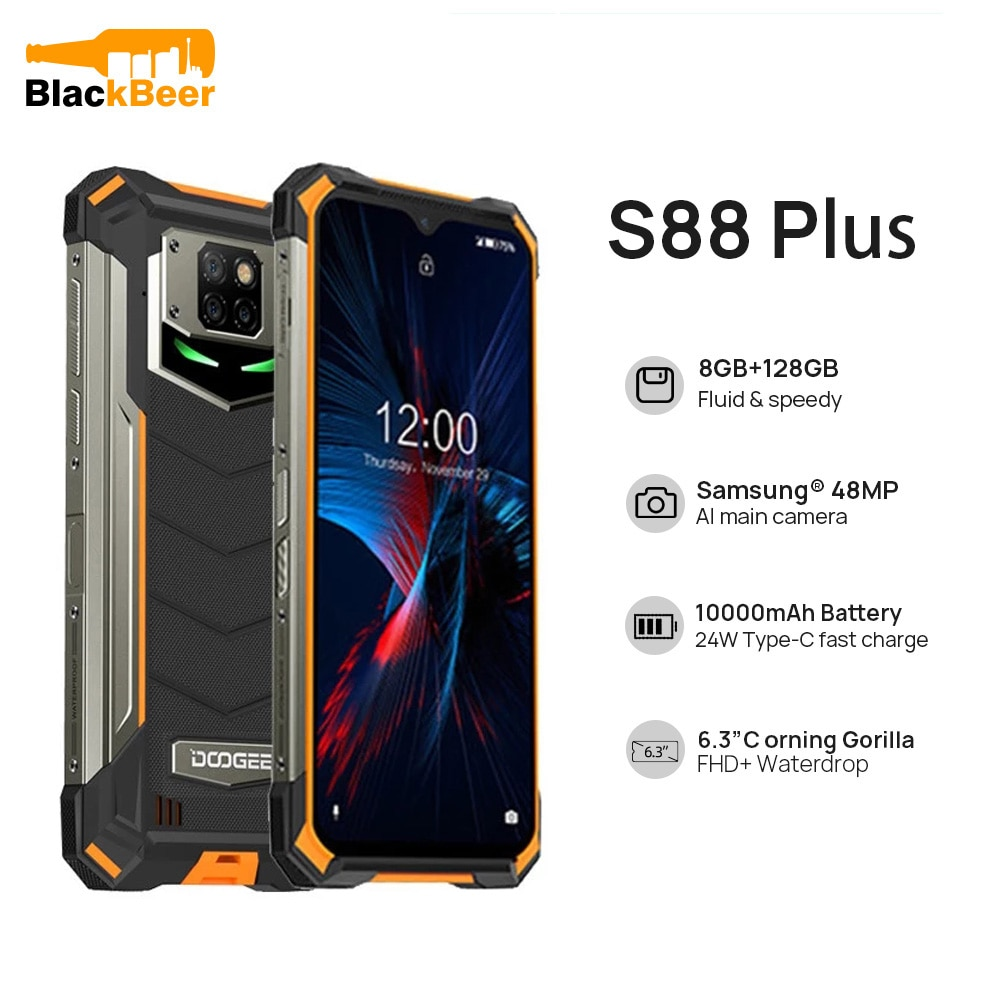 DOOGEE S88 Plus Android 10 Smartphone 6.3 Inch Rugged IP68/IP69K Waterproof MobilePhone Octa Core 8G 128G Cellphone NFC 10000mAh