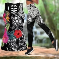 sea turtle polynesian 3d printed hollow out tank legging suit sexy yoga fitness soft legging summer women for girl 10
