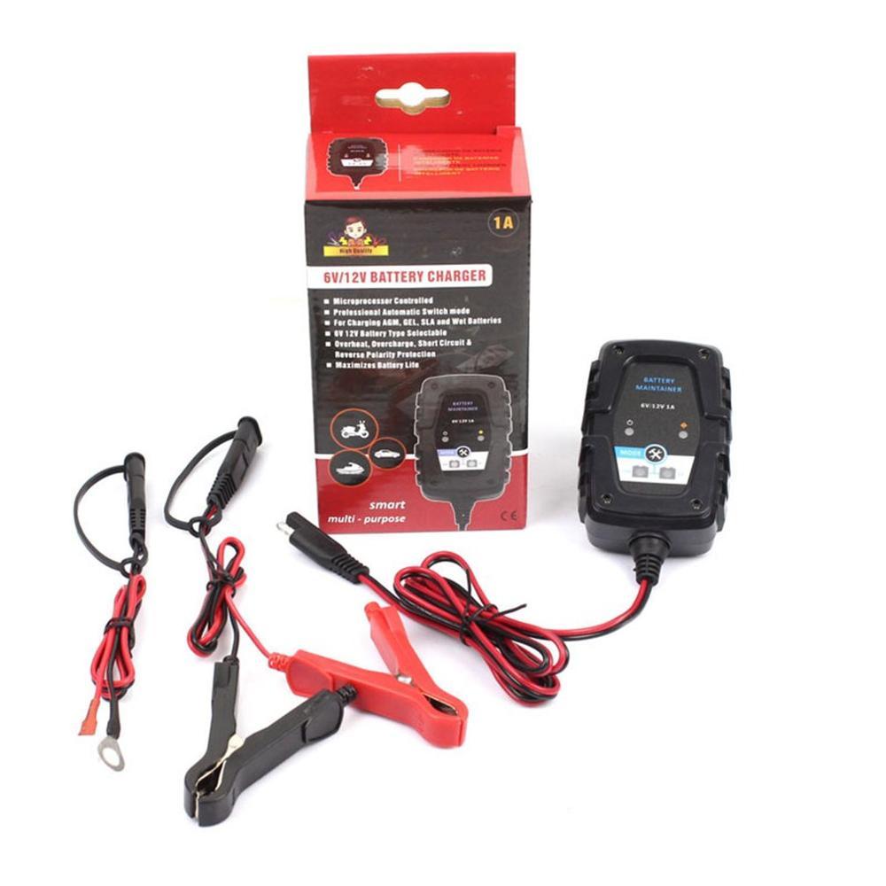 Cargador de batería de plomo y ácido 6V12V 1A inteligente para motocicleta cargador Agm Cable Sae indicadores LED