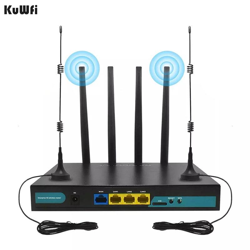 KuWFi 4G موزع إنترنت واي فاي 300Mbps CPE راوتر مع فتحة Sim ربط ما يصل إلى 32 واي فاي المستخدمين الخارجية 4 قطعة هوائيات دعم WPS WPA WPA2