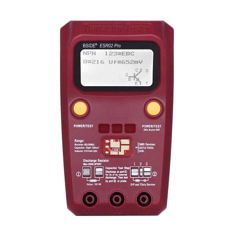 BSIDE ESR02PRO, Transistor Digital SMD, probador de componentes, diodo triodo, inductancia, multímetro, medidor ESR