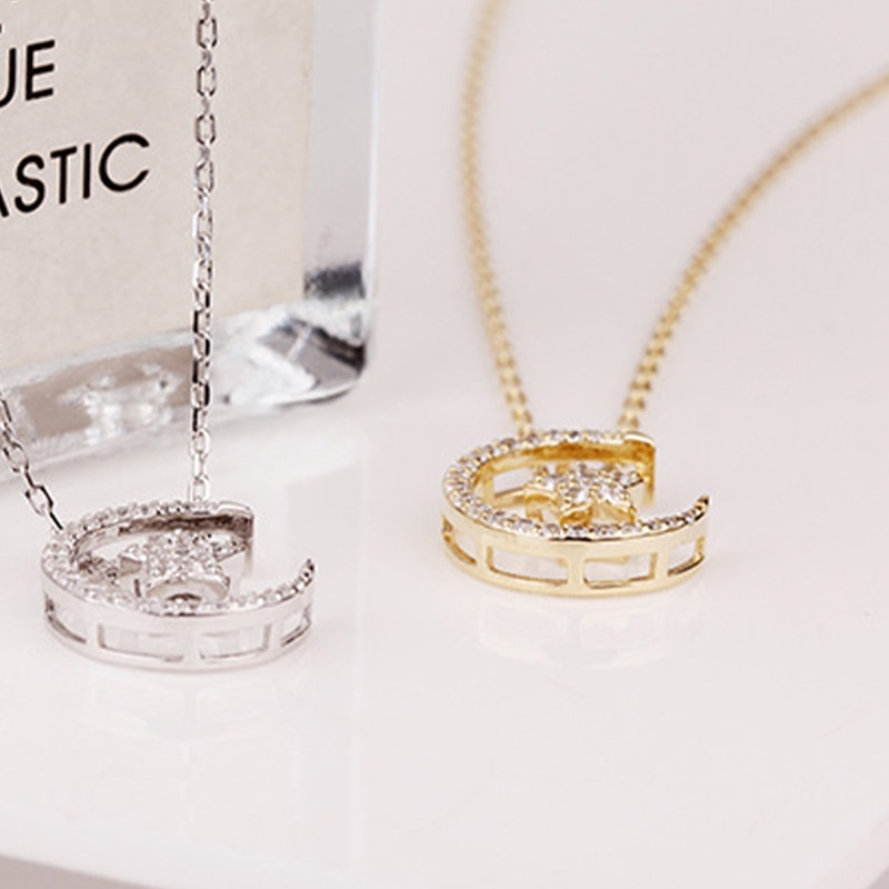 Silver Real 925 Necklaces For Women 2021 Trend Chains Vintage Jewelry Zircon Pendants Ginkgo Undefined Luxury Stars Moon Fashion