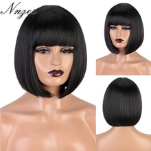 NNZES Synthetic Wigs with Bangs Short Straight Black Bob Wigs for Black White Women Natural Brown Pink Orange Cosplay Wigs