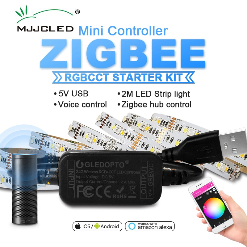 Zigbee-مجموعة إضاءة شريط LED للتلفزيون الذكي الصغير ، 2 متر ، RGB CCT ، الكمبيوتر ، التلفزيون ، شاشة سطح المكتب ، الإضاءة الخلفية