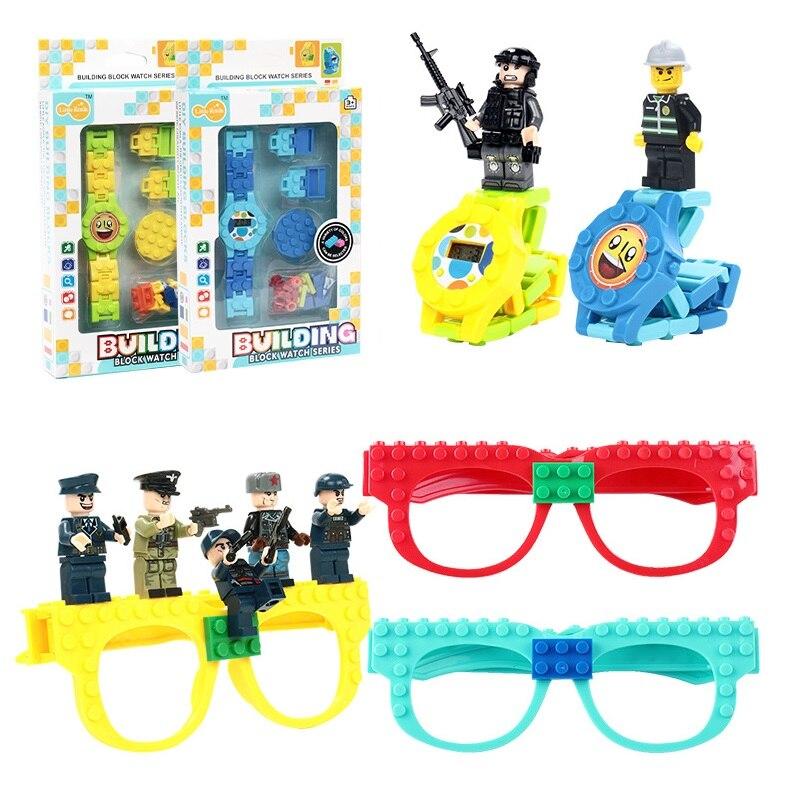 DIY Legois Friends, bloques de construcción, reloj de juguete, juguete Ninjagoing, bloques de construcción, gafas, marco de placa base, regalo de ladrillo para niños