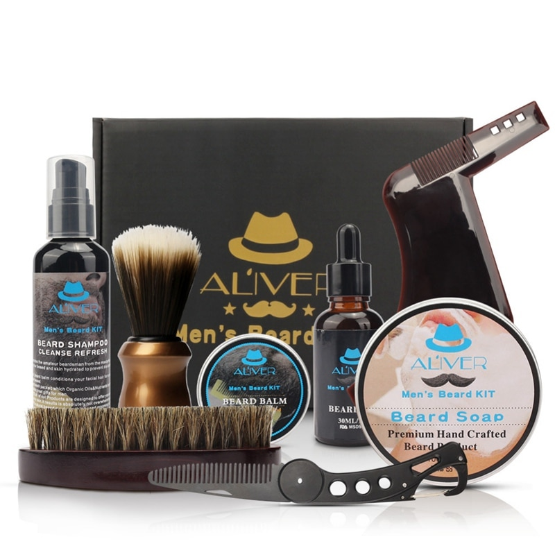 Professional Beard Trimming Set 7-in-1 Beard Care Gift Kit For Men/Dad/Husband Beard Grooming Kit