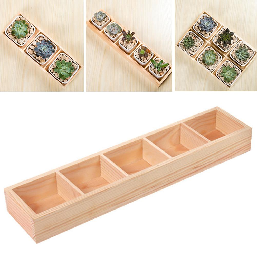Pequeno mini planta flor decorativa pote quadrado multi grade de madeira vaso de flores bonsai plantador caixa de armazenamento desktop titular organizador