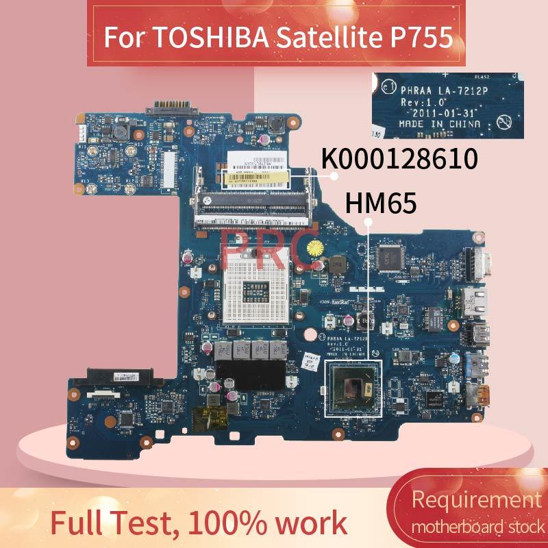 K000128610 لتوشيبا P755 اللوحة المحمول LA-7212P HM65 DDR3 اللوحة