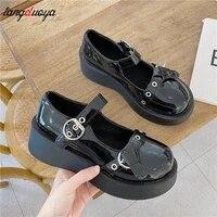 japanese sweet lolita shoes bandage cute bow low heel women round head black lolita platform shoes kawaii girl sneakers 2021