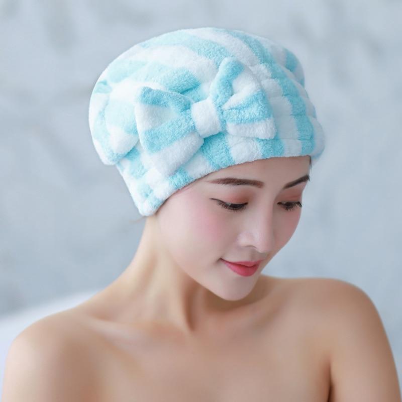 Elastische Haar Trocknen Kappe Mit Bogen Verdickung Korallen Fleece Super Saugfähigen Haar Wrap Handtuch Dusche Hut Für Curly Lange & dickes Haar