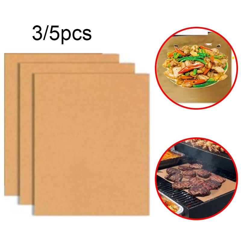 1/3/5pcs reutilizable antiadherente BBQ Grill Mat hoja PTFE recubrimiento al aire libre Picnic cocina horno tostador herramientas barbacoa Accesorios