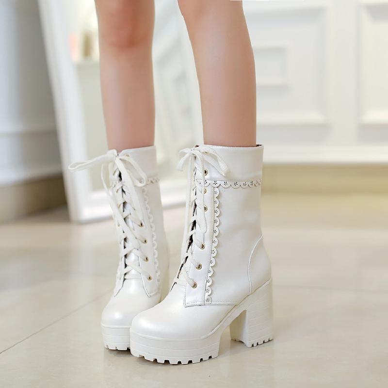 OLOMLB, zapatos de plataforma de Tacón alto grueso Lolita para mujer, zapatos de punta redonda para fiesta, fecha Formal, botas de media caña, Cosplay, 3 colores de talla grande