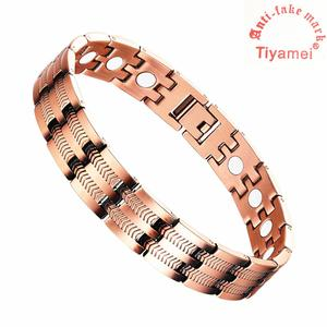 Men's copper bracelet, Arthritis magnetic therapy 3500 Gauss strength pain relief health gift, removal tools and gift box