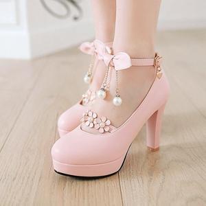 Japanese Sweet Lolita Shoes High-heeled British Academy style Coarse Heel Mori girl Lori Lolita student party shoes