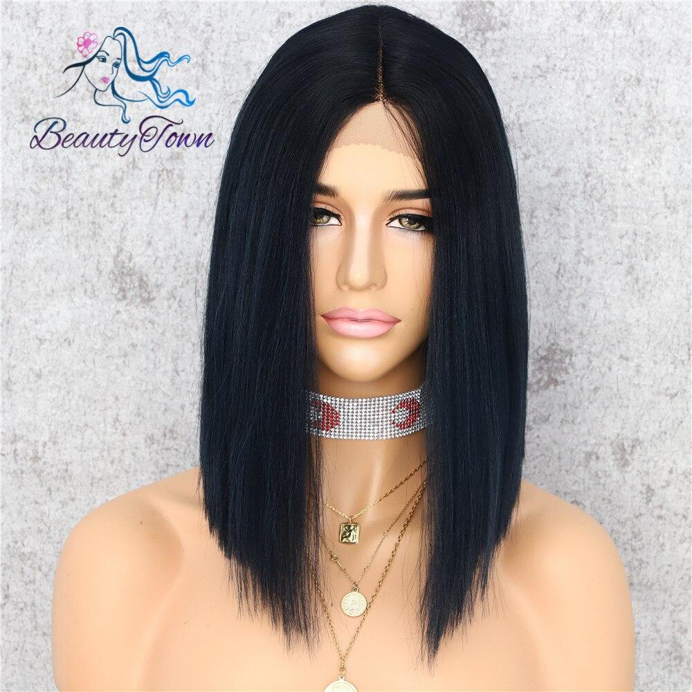 BeautyTown pelo sintético liso parte frontal de encaje con Peluca de 14 pulgadas negro Ombre azul maquillaje diario fiesta vacaciones regalo pelo