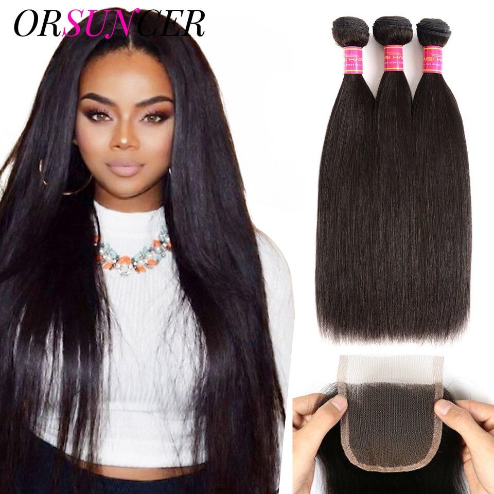 ORSUNCER Straight Brazilian Hair Weave Bundles With Closure 28 30 inch 3 Bundles Human Hair Bundles with Closure Natural Color