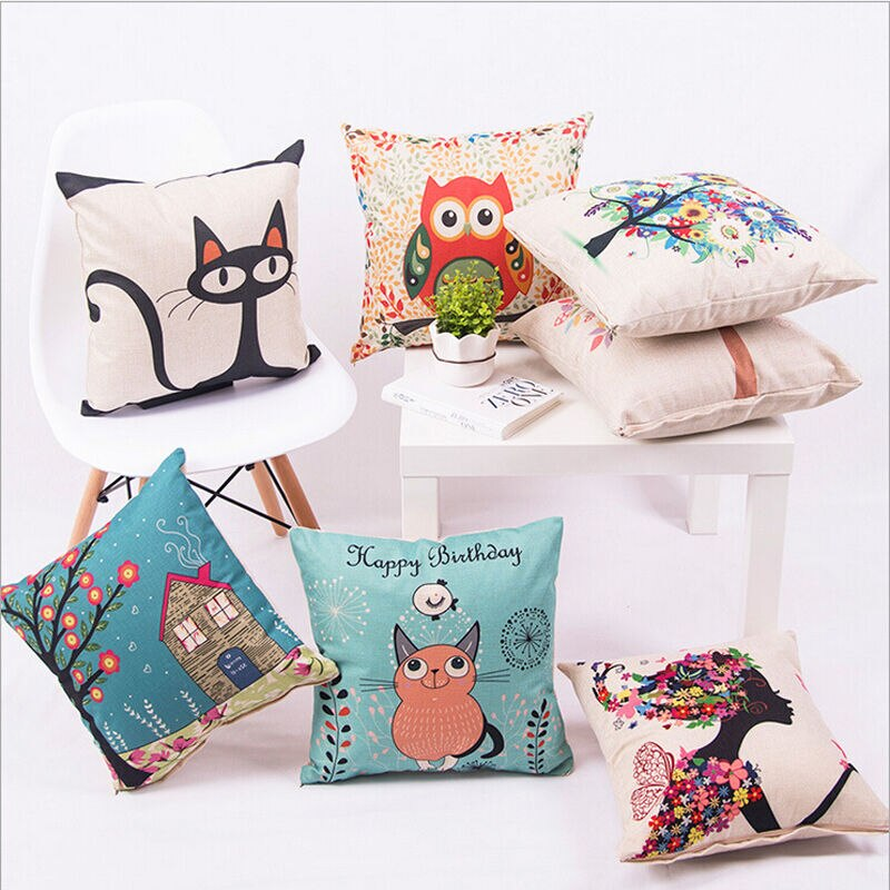 Art Animal Decorative Pillow Case Square CottonThrow Pillow Cover Home Decorative 40x40cm