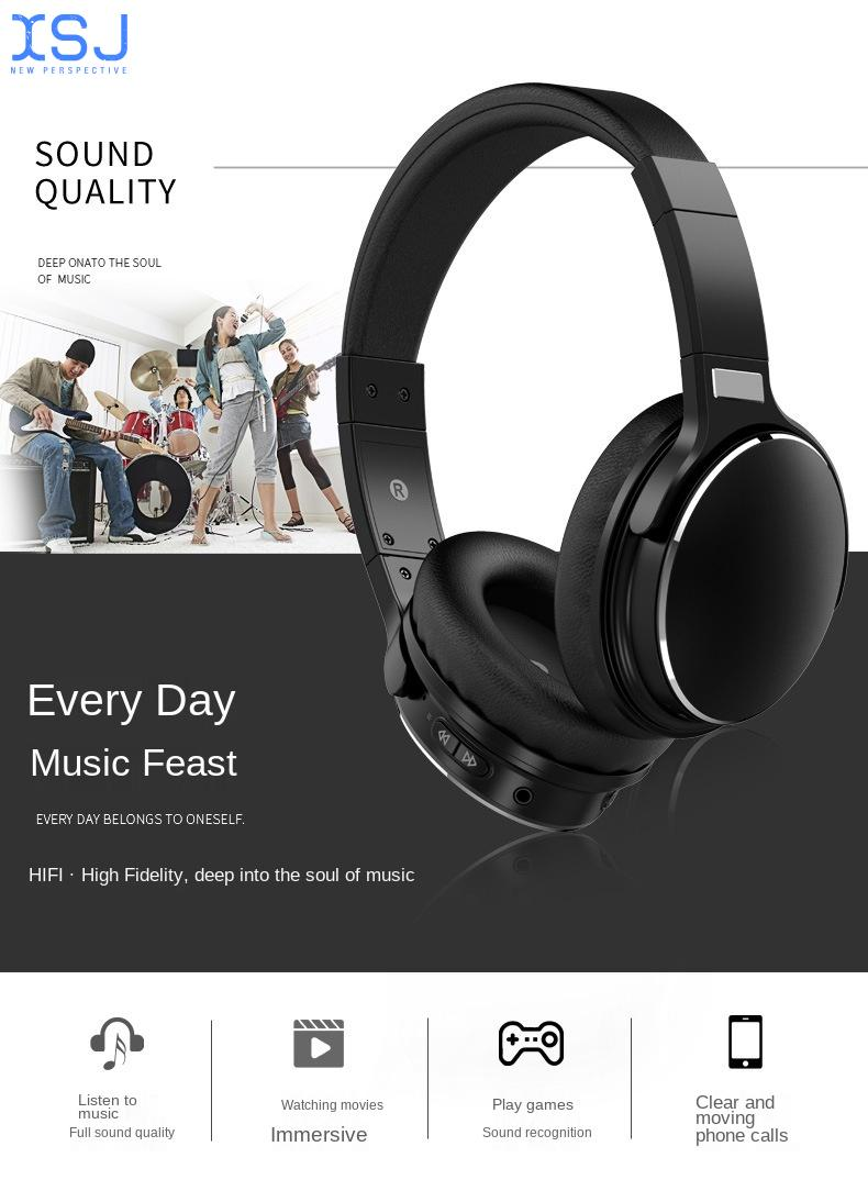 New Head-Mounted Bluetooth Headset Active Noise Reduction Wireless Long Standby Wireless Charging High-Quality Headset enlarge