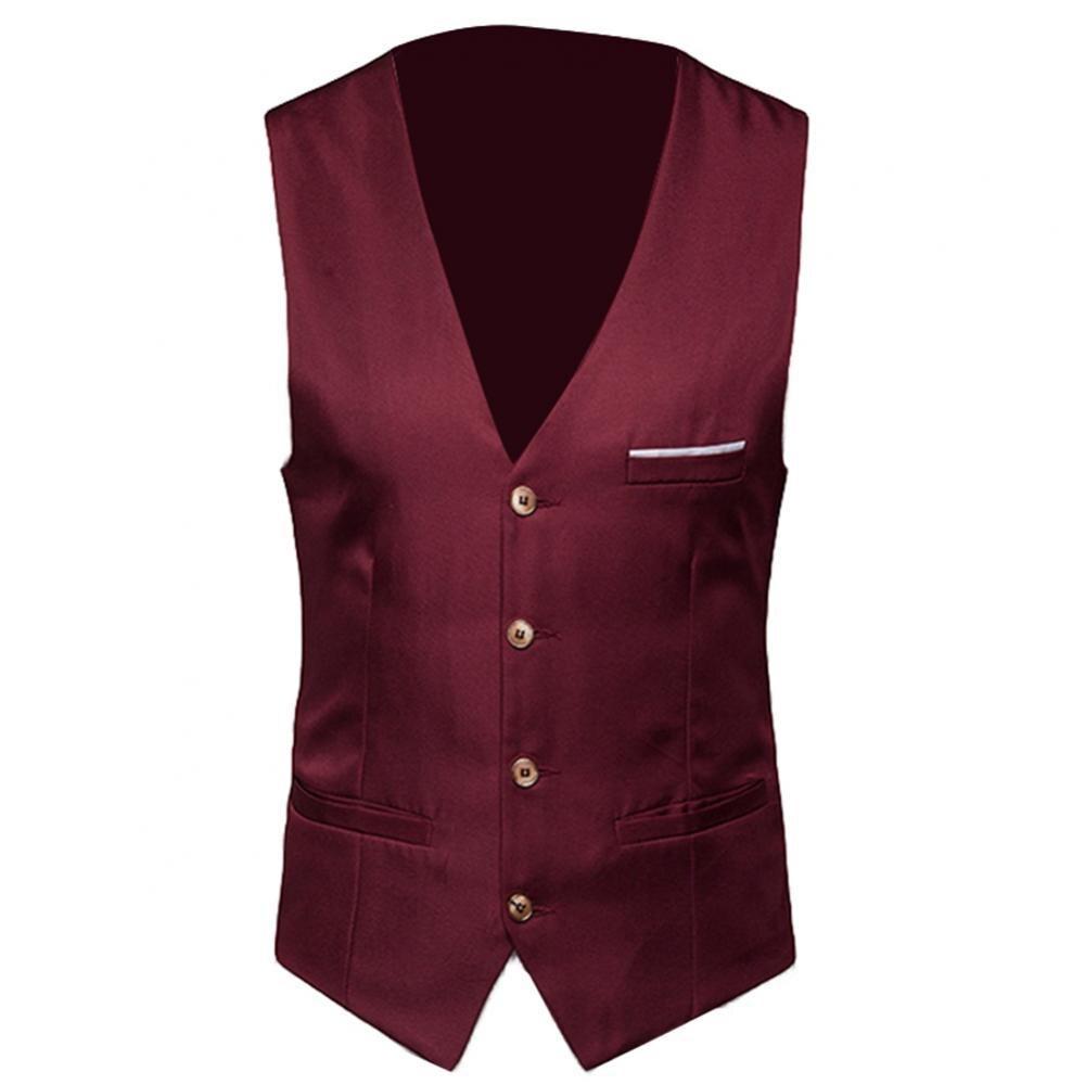Жилет мужской однобортный, классический официальный деловой жилет, однотонный жилет для костюма, деловой жилет без рукавов, размера плюс