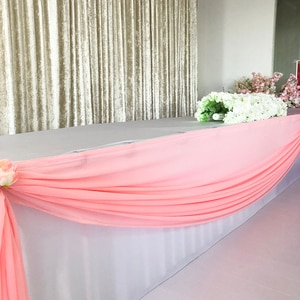 Hot Sale Valance  Colorful  Swag Pleated Ruched Table Skirt for Wedding Party Event Decoration