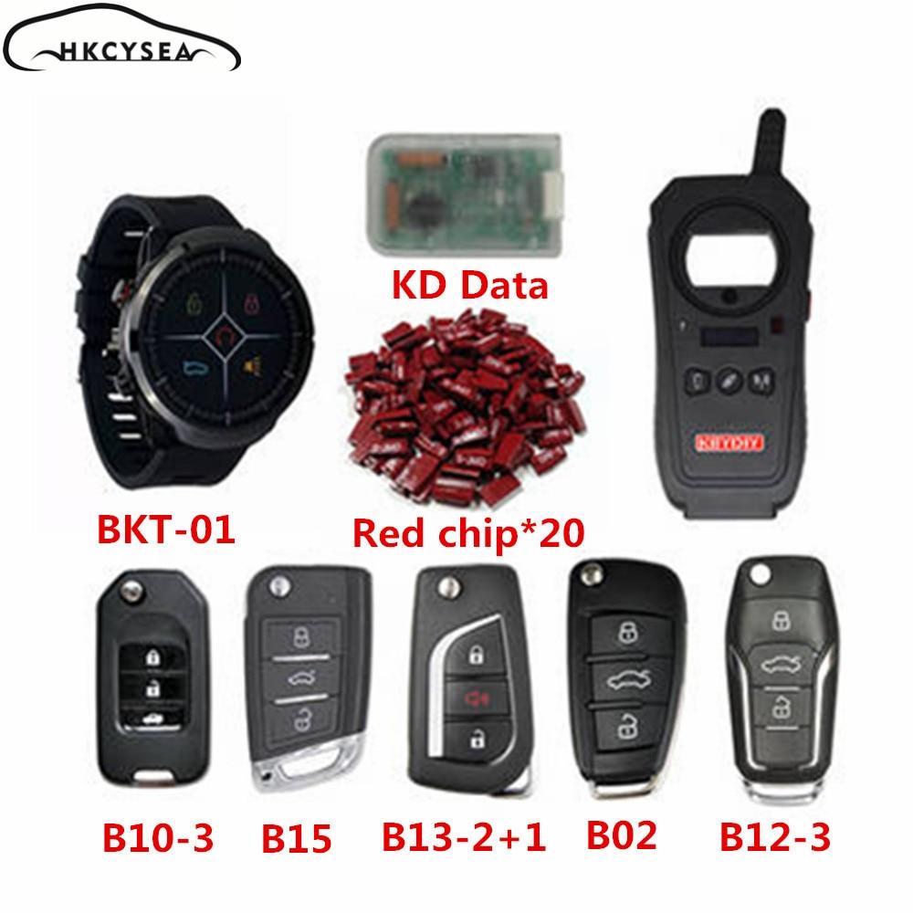 KEYDIY KD-X2 Fernbedienung Generator Transponder Klon KEYTIME Smart Uhr BKT01 KD Daten Collector 5 stücke B Remote 20 stücke Rot super Chip