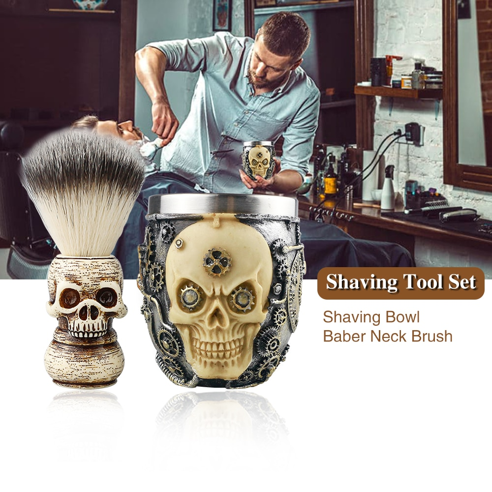 Barber Shaving Tool Set Fashion Doudle Skull Design Shaving Brush Set Foaming Soap Bowl Set  Men's Beard Facial Cleaning Tool